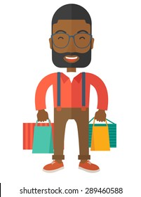 A funny black businessman with shopping bags. A contemporary style. Vector flat design illustration with isolated white background. Vertical layout.