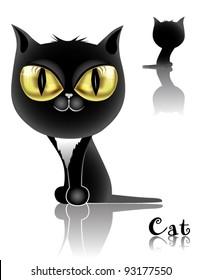 funny Black cat with big voluminous yellow eyes