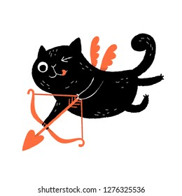 Funny black cat cupid character with a bow and wings, flying and aiming his arrow. Valentine's Day greeting card.