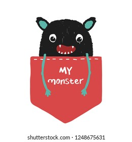 Funny black monster in your pocket with quote. Vector hand drawn illustration.