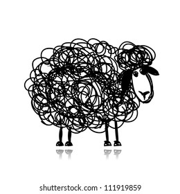 Funny black sheep, sketch for your design