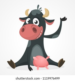 Funny black and white spotted cow character pointing to something, cartoon vector illustration isolated on white background. Funny cow character drawing attention to something