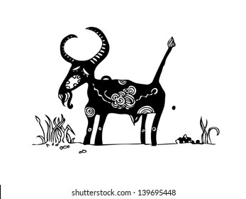 funny black-and-white cartoon stylized goat eats grass and defecates