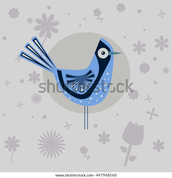 funny Blue Bird and the flowers