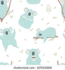 Funny blue koala, hand drawn illustrations. Seamless pattern perfect for  wrapping paper, fabric, wallpaper background  design. Cute koala design for baby clothes, textile, kid room decor, print