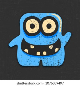 Funny blue monster on grunge black background. Cartoon illustration