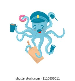 Funny blue octopus with mustache in policeman s cap. Marine animal holding police items in tentacles. Flat vector for kids about career