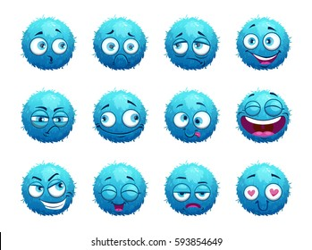 Funny blue round characters set. Cartoon emotion stickers on white background. Vector illustration.