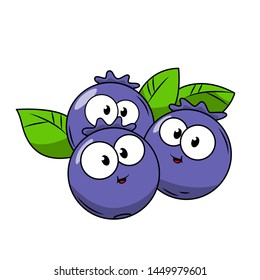 Funny Blueberry in cartoon style. Concept Fruits and vegetables. Summer.