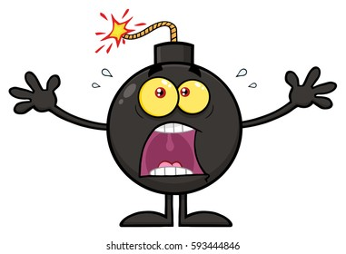Funny Bomb Cartoon Mascot Character With A Panic Expression. Vector Illustration Isolated On White Background