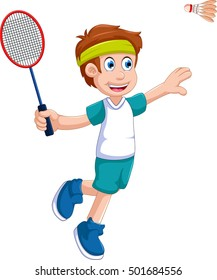 funny boy cartoon playing badminton