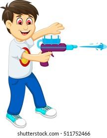 funny boy cartoon playing water gun