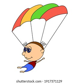 Funny boy flying with a parachute. Funny character in a flat style has a black outline. The man is a parachutist. Design isolated on white background. Vector.