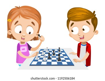 Funny boy and girl playing chess together. Chess club for kids. Happy childhood and kids friendship. Logic game for brain development. Little girl holding chess piece isolated vector illustration.