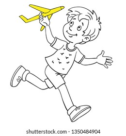 Funny boy runs with a toy plane in his hand. Black and white picture with a yellow accent. In cartoon style. Isolated on white background. For coloring book.