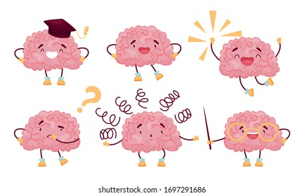Funny Brain Jumping with Joy and Thinking Vector Set