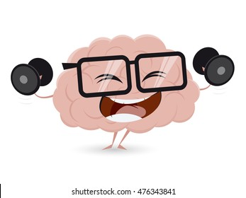 funny brain training with dumbbells clipart