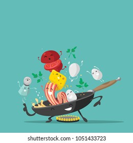 Funny breakfast characters. Eggs, cheese, frying pan, tomato, bacon, greens and salt shaker. Vector illustration.