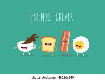 Funny breakfast. ?up of coffee, egg, bacon, toaster. Vector illustrations.