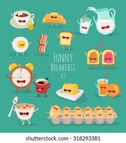 Funny breakfast set. Comic characters. Vector illustrations.