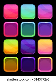 Funny bright colorful ui elements, square vector buttons and frames for app design