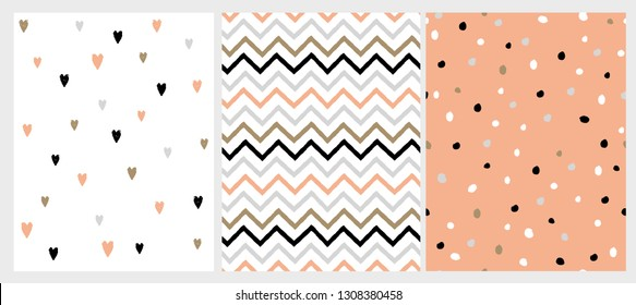 Funny Bright Hand Drawn Chevron, Hearts and Dots Vector Patterns. Irregular Dot Shape Confetti Design. Grey, Black and Salmon Pink Chevron Pattern. Cute Hearts on a White. Lovely Infantile Style Art.