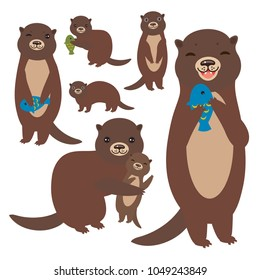 Funny brown otter collection on white background. Kawaii. Vector