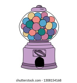 Funny Bubble Gum Machine. Vector hand drawn illustration  for card, poster, banner, print for t-shirt.  Surreal illustration