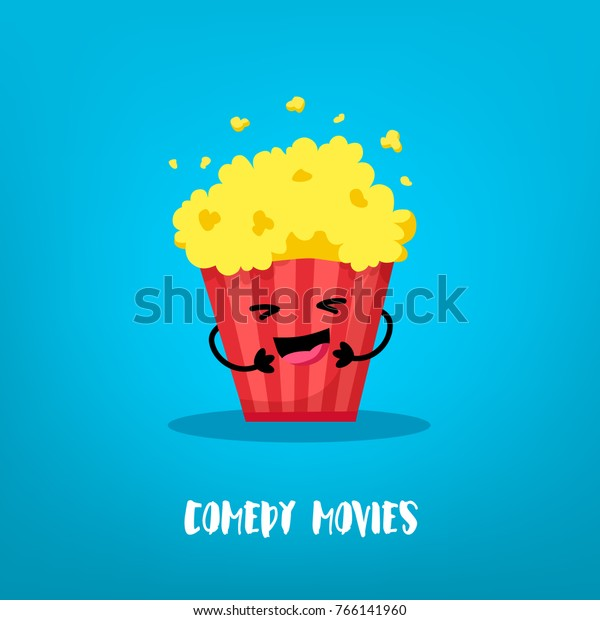 Funny Bucket Popcorn Laughing On Blue Stock Vector (Royalty