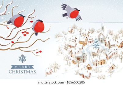 Funny Bullfinches flying over small winter town and rural landscape. Vector image for Christmas cards, banners, posters, seasonal sales, with lettering design template.