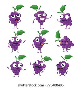 Funny bunch of grapes - vector isolated cartoon emoticons. Cute emoji set with a nice character. A collection of an angry, surprised, happy, confused, crazy, laughing, sad fruit on white background