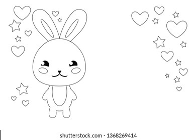 Funny bunny cartoon character. Kawaii anime style. Love card. White background. Black line on white. Coloring page.