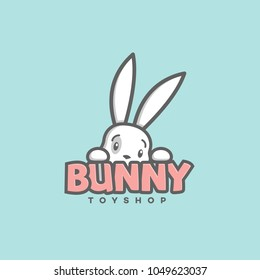 Funny bunny logo template design. Vector illustration.