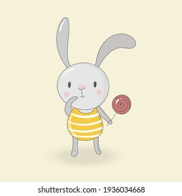 Funny bunny with lollipop. Cute character. Ideal for kids posters, cards, books, invitations. Can be used for  metrics, baby showers, birthday. For banners, flyers, blogs, web sites.