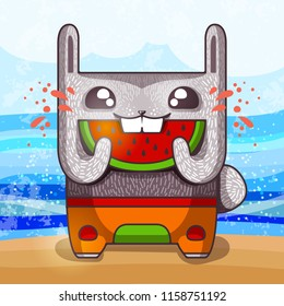 Funny bunny with with a slice of watermelon on the summer beach, vector illustration