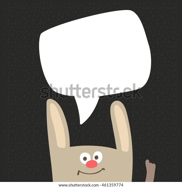 Funny Bunny with Speech Bubble Vector Illustration