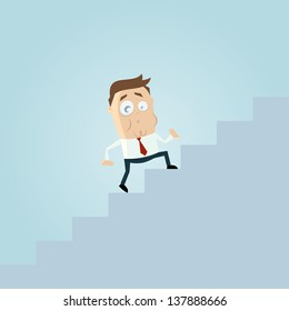 funny business cartoon man is climbing stairs