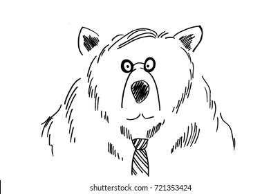 funny business man bear sketch, cartoon or comic art drawing of a silly, fun wild animal character, hand drawn vector in black ink on white background, businessman is wearing a tie and reading glasses