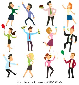 funny business people dancing at a party in the office. people are dancing, having fun and drinking alcohol at a party. vector illustration.