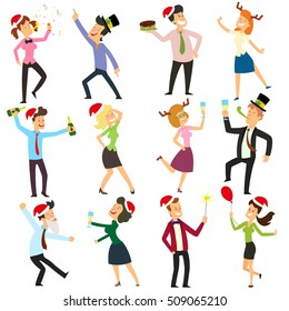 funny business people drinking, dancing and having fun at corporate office. corporate New Year. vector illustration.