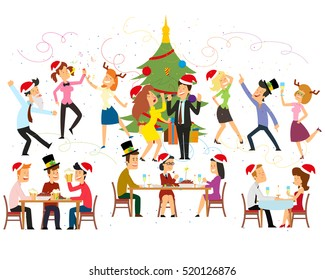 funny business people drinking, dancing and having fun at corporate office. vector illustration.