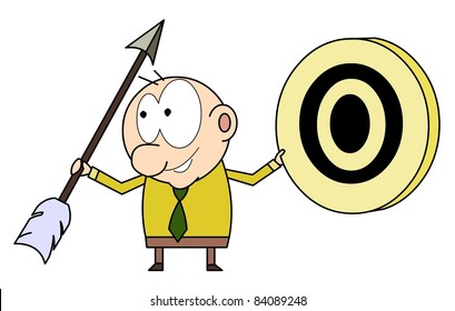 Funny businessman with an arrow and target.