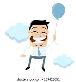 funny businessman is flying with air balloon