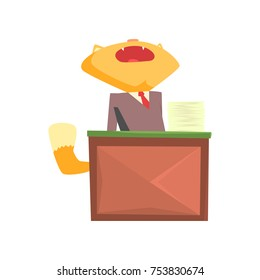 Funny businessman fox in a suit yawning while sitting at the desk in office, cute animal character cartoon vector Illustration on a white background