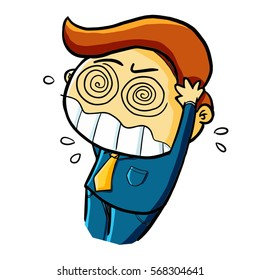 Funny businessman get stressed expression - vector.