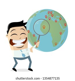 funny businessman with pins and globe