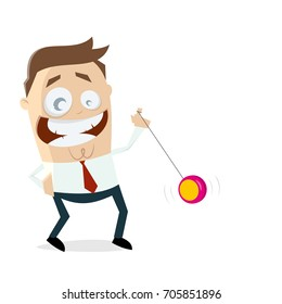 funny businessman playing yoyo