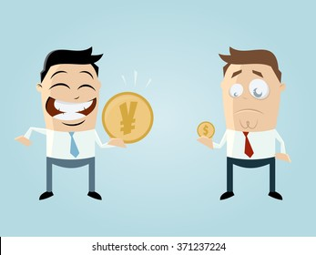 funny businessmen comparing their income