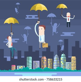 Funny businessmen illustration with umbrellas