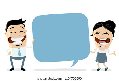 funny businessteam holding speech balloon